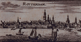 III-32 Gezicht op de stad over de Nieuwe Maas. Op de afbeelding is het westelijk deel van de stad, de Boompjes en het ...