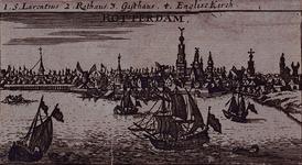 III-33 Gezicht op de stad over de Nieuwe Maas. Op de afbeelding is het westelijk deel van de stad, de Boompjes en het ...