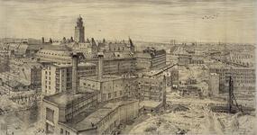 III-338 De omgeving van de Meent gezien vanaf de Laurenstoren. Links in het midden het Stadstimmerhuis in aanbouw.