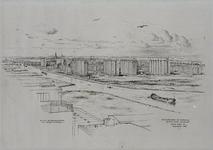 III-393 Flatgebouwen bij Overschie gezien vanaf 'Van Nelle'. Als uit de blokkendoos van Reuzenkinderen.