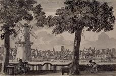 III-44 Gezicht uit de Keerweerlaan op de Binnenwegse Poort, op 15 september 1750. Rechts korenmolen De Lelie (ten ...