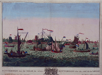 III-53 Maasgezicht met profiel van Rotterdam op de achtergrond. Links vooraan de veerpont van Rotterdam op Katendrecht.