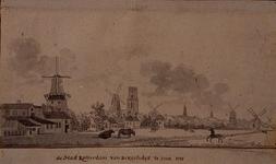 III-65 De stad Rotterdam van de Beugelsdijk te zien 1758.Achterzijde Schiekade en de molens aan de westzijde van de stad.