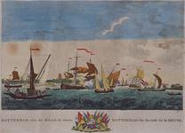 III-72 Gezicht op de stad vanaf de Nieuwe Maas. Maasgezicht met profiel van Rotterdam op de achtergrond. Links vooraan ...