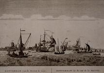 III-73 Gezicht op de Nieuwe Maas met een profiel van Rotterdam op de achtergrond. Links de veerpont van Rotterdam op ...