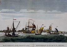 III-74 Gezicht op de Nieuwe Maas met een profiel van Rotterdam op de achtergrond. Links de veerpont van Rotterdam op ...