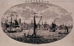 III-96 Maasgezicht met profiel van Rotterdam op de achtergrond. In het midden vooraan de veerpont van Rotterdam op ...
