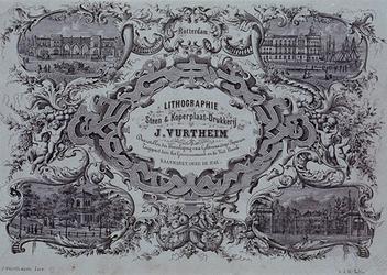 IV-11-01 Reclameplaat van J. Vürtheim met afbeeldingen van 1. Station Delftse Poort, 2. Museum aan de Willemskade ...