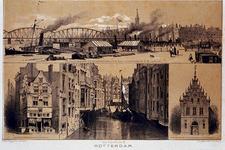 IV-16-1 Stadsgezichten:De Oosterkade, huis In duizend vreezen, Het Steiger, Voorgevel van de nieuwe vleeschhal.