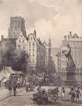 IX-1080 Grotemarkt met het standbeeld van Erasmus uit het zuiden.