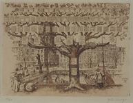 IX-1087 De Grotemarkt met het standbeeld van Erasmus, achter de huis- en winkelpanden de toren van de Grotekerk, uit ...