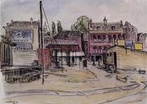 IX-1139-03 Gezicht op de Hartmanstraat vanaf de Schiedamsesingel, uit het oosten. Links de in aanbouw zijnde woningen ...