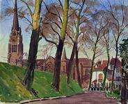 IX-1386 De Honingerdijk bij de Essenweg uit het zuidoosten. Bij de rooms-katholieke kerk aan de Hoflaan.