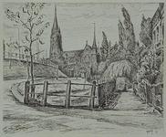 IX-1396-03 Gezicht onder langs de Honingerdijk uit het zuidoosten met op de achtergrond de Sint Lambertuskerk.