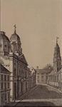 IX-1413 Westelijk eind van de Hoogstraat, links de Sint Dominicuskerk, rechts de Waalse kerk.