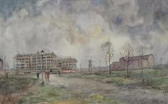 IX-1563-01 De Kipstraat en het in aanbouw zijnde industriecentrum of woningcentrum, rechts het flatgebouw aan het ...