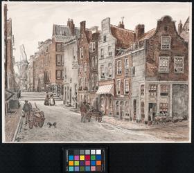 IX-1659-01 Gezicht in de Krattensteeg en Bagijnenstraat, vanaf hoek Bagijnenhofstraat/Bagijnenstraat, uit het oosten.