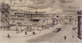 IX-1688 Kruiskade bij de Diergaardesingel met de in aanbouw zijnde bioscoop Lutusca.