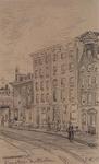 IX-1722-01-02 Gezicht in de Lamsteeg. Het eerste hoge huis rechts is het geboortehuis van Joh. F. Snelleman van ...