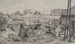 IX-1824 Gezicht op de achterzijde van de Bergse Linker Rottekade benoorden de Ceintuurbaan van de Stoopweg.