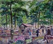 IX-2167 Het Noordplein tijdens de bloemenmarkt.