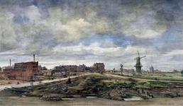 IX-2262 Gezicht op het Oostplein met op de voorgrond de Gedempte Slaak en de Hoge Boezem - rechts - uit het noorden. Op ...