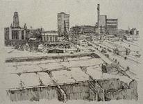 IX-240 De verwoeste Binnenweg en omgeving uit het westen. Op de achtergrond: Coolsingelziekenhuis, Erasmushuis, ...