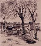 IX-2492-15-01 Gezicht op een pad langs het water in Pernis. In het water liggen eeen aantal binnenschepen, in het ...