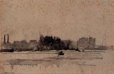 IX-2556 De Maas tegenover de Leuvehaven, bij ijsgang.Gezicht op het Prinsenhoofd, vanuit het noorden.