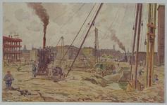 IX-258-04 Bouwerij aan de Oude Binnenweg: op de voorgrond de bouwput voor het pand van het warenhuis Ter Meulen, ...