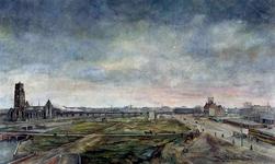 IX-272 Gezicht op de Blaak en op de verwoeste binnenstad tussen de Blaak en Sint-Laurenskerk uit het westen.