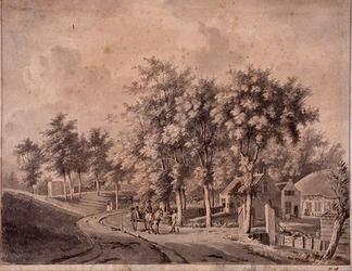 IX-3368 Westzeedijk.Boerderij in Schoonderloo, bocht ter hoogte van latere Kapelstraat, nabij het oude kerkhof, gezien ...