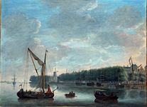 IX-343-1 Nieuwe Maas met op de achtergrond Boompjes, Bolwerk en mond Oudehaven.