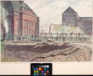 IX-419-06 Botersloot, gezicht op de gemeentebibliotheek en de gemeentelijke telefoondienst. Op de voorgrond de resten ...