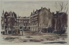 IX-62-05 Gezicht in de Alexanderstraat met op de achtergrond de huizen aan de Mauritsstraat, uit het oosten.