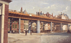 IX-854-03 Gedempte Binnenrotte met het bijna voltooide spoorviaduct uit het noordwesten.