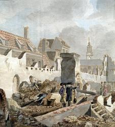 PT-3005 Het opruimen van wat overbleef van huizen in (of nabij) de Pottebakkerssteeg na de brand aldaar van maart 1779.