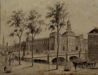 RI-1027 Gezicht op de Blaak met de Beursbrug en het Beursgebouw aan het Beursplein.