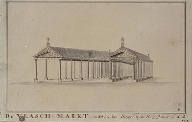 RI-1044 De Vlasmarkt tussen het Steiger en de Hoogstraat.In 1858 werd dit gebouw afgebroken.