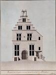 RI-1049 Voorgevel van het Gebouw der Oude Stads Vleeschhal te Rotterdam, voor het afbreken van den Geveltop