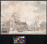 RI-1057 Gezicht op de Zeevismarkt te Rotterdam met links daarvan de Soetenbrug en rechts de Blaak en de Luthersekerk ...