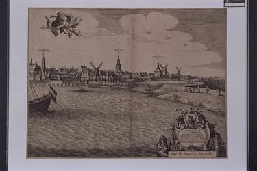 RI-109-A Gezicht op het oostelijk deel van de stad vanaf de Nieuwe Maas. Links een deel van de Laurenskerk en de ...