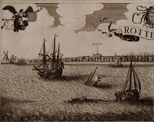 RI-111-A Tweede blad van een vierbladig gezicht op Rotterdam over de Maas. Links de mond van de Leuvehaven,rechts ...