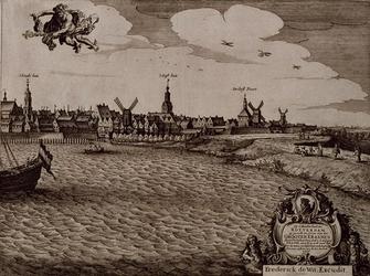 RI-111-C Vierde en meest rechtse blad van een vierbladig gezicht op Rotterdam. Links het koor van de Grote- of ...