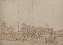 RI-1117 Het terrein van de Marinewerf ('s Lands werf) met links het magazijn. Op de helling is een schip in aanbouw.