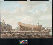 RI-1118 Het terrein van de Marinewerf ('s Lands werf) met links het magazijn. Op de helling is een schip in aanbouw