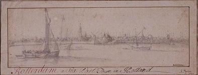 RI-112 Gezicht op de stad vanaf de Maas, 1645? (torenspits van de Grote Kerk).