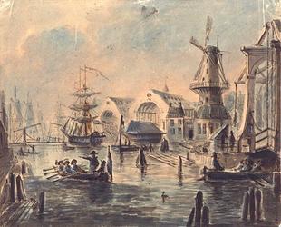 RI-1120 's Rijks Marine werf 1847 Loodsen van de Marinewerf aan het Boerengat, rechts de Rooleeuwmolen en de Oude ...