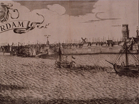 RI-116-C Derde blad van een gezicht op Rotterdam over de Maas. Links de mond van de Oudehaven met molen op het Bolwerk ...