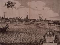RI-116-D Vierde blad van een vierbladig gezicht op rotterdam over de Maas. Links het koor van de Laurenskerk en de ...